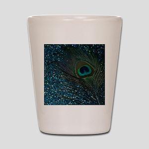 Glittery Aqua Peacock Shot Glass