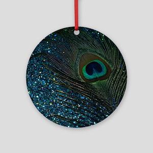 Glittery Aqua Peacock Round Ornament