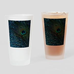 Glittery Aqua Peacock Drinking Glass