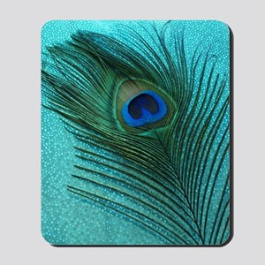 Metallic Aqua Peacock Mousepad