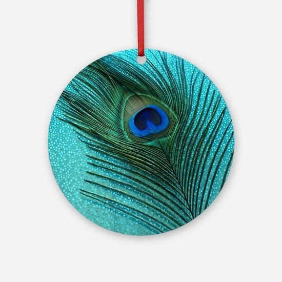 Metallic Aqua Peacock Round Ornament