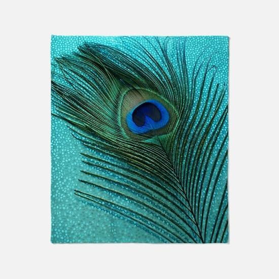 Metallic Aqua Peacock Throw Blanket