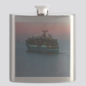 Cruise Ship at Sunset Flask