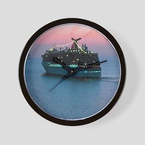 Cruise Ship at Sunset Wall Clock