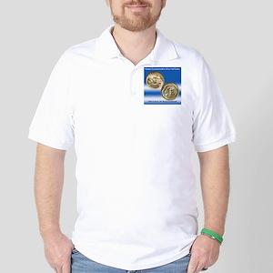 Hudson NY Sesquicentennial Half Dollar  Golf Shirt