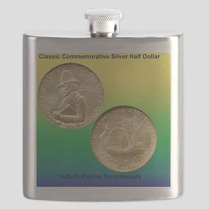 Pilgrim Tercentenary Half Dollar Coin  Flask