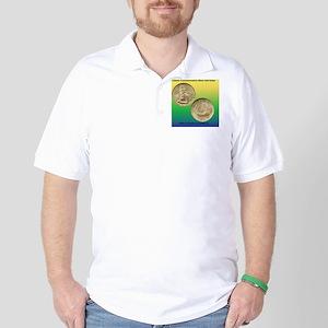 Pilgrim Tercentenary Half Dollar Coin  Golf Shirt