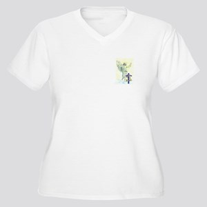 Jesus & Cross Women's Plus Size V-Neck T-Shirt