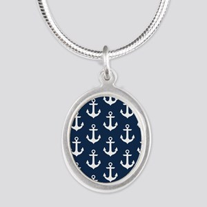 Anchor Me Silver Oval Necklace