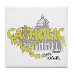 Catholic and Christian (Gold) Tile Coaster