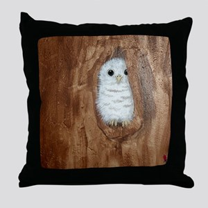 StephanieAM Baby Owl Throw Pillow