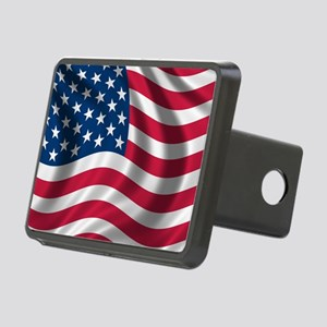 USA Flag Rectangular Hitch Cover