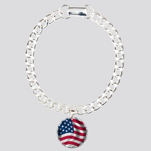 USA Flag Charm Bracelet, One Charm