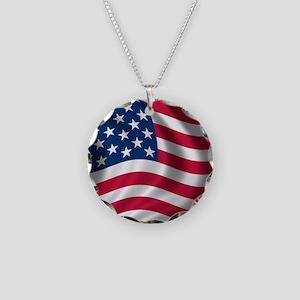 USA Flag Necklace Circle Charm