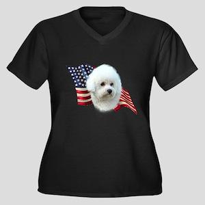 Bichon Flag Women's Plus Size V-Neck Dark T-Shirt