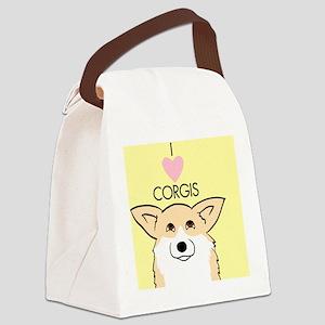 I Love Corgis Canvas Lunch Bag