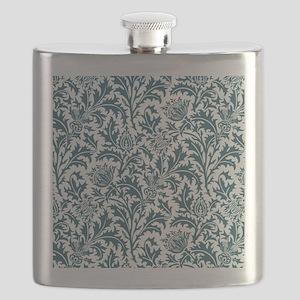William Morris Thistle Pattern Blue White Flask