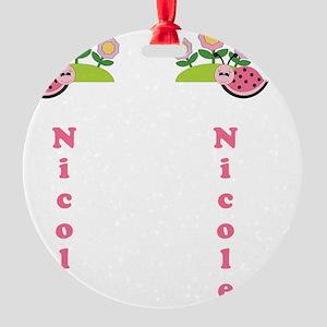 Childrens Girls Summer Flip Flop Sa Round Ornament