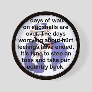 THE DAYS OF WALKING ON EGGSHELLS Wall Clock