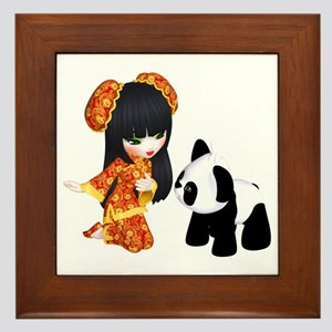 Kawaii China Girl Framed Tile