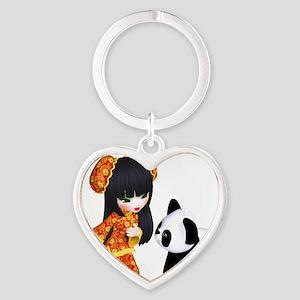 Kawaii China Girl Heart Keychain