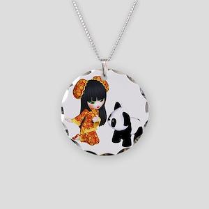 Kawaii China Girl Necklace Circle Charm