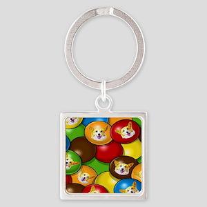 Corgi Candy  Square Keychain