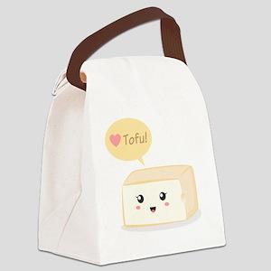 Kawaii tofu asking people to love Canvas Lunch Bag