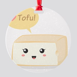 Kawaii tofu asking people to love t Round Ornament