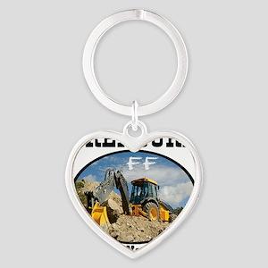 Treasure Hunting With Backhoe Heart Keychain