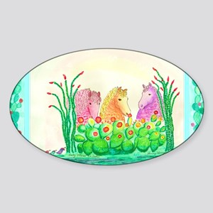 Curlies in Cactus with Borders Sticker (Oval)