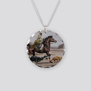 Bedouin Riding with Saluki H Necklace Circle Charm