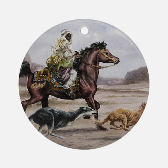 Bedouin Riding with Saluki Hounds Round Ornament