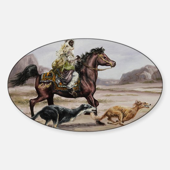 Bedouin Riding with Saluki Hounds Sticker (Oval)