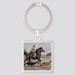 Bedouin Riding with Saluki Hounds Square Keychain
