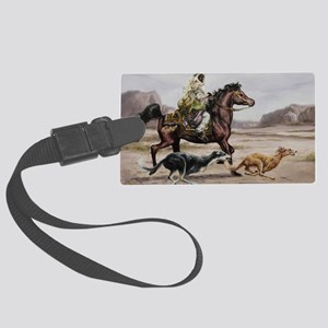 Bedouin Riding with Saluki Hound Large Luggage Tag