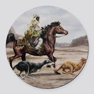 Bedouin Riding with Saluki Hounds Round Car Magnet