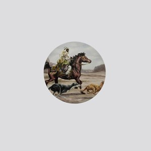 Bedouin Riding with Saluki Hounds Mini Button