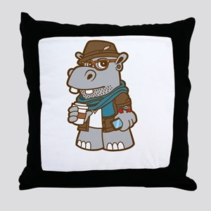 Hipsterpotamus Throw Pillow