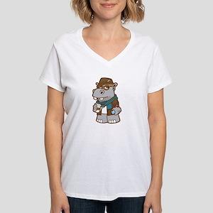Hipsterpotamus Women's V-Neck T-Shirt