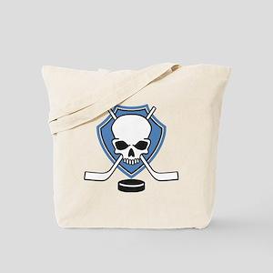 ice hockey skull Tote Bag