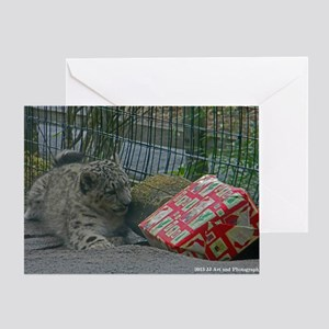 Snow Leopard and Presetn Greeting Card