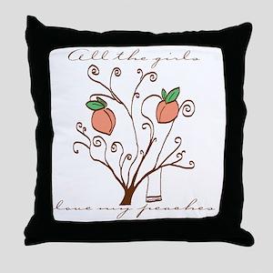 Girls Love My Peaches Throw Pillow