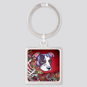 DiaLos Muertos dog Square Keychain