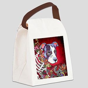 DiaLos Muertos dog Canvas Lunch Bag