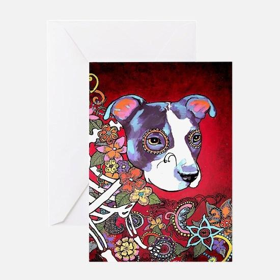 DiaLos Muertos dog Greeting Card