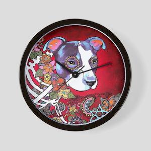 DiaLos Muertos dog Wall Clock
