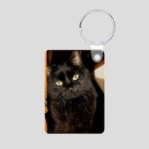 Black Cat named Cosmo Aluminum Photo Keychain