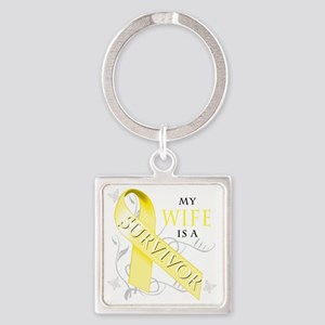 My Wife is a Survivor (yellow) Square Keychain
