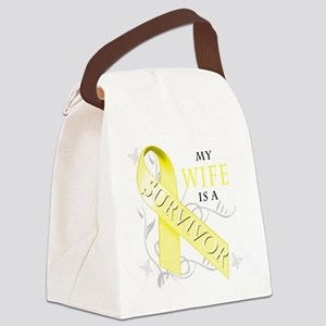 My Wife is a Survivor (yellow) Canvas Lunch Bag